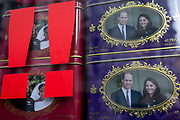 British royal family merchanidise and tourism souvenir tea bags which show the faces of Meghan Markle and Prince Harry, the Duke and Duchess of Sussex at their 2018 wedding, behind two exclamation marks, and the Duke and Duchess of Cambridge (Prince William and Kate), in the window of trinket shop in the West End, on 15th January 2020, in London, England.
