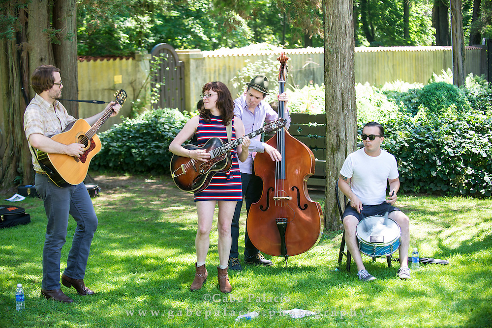 Miss Tess &amp; The Talkbacks perform in the Sunken Garden set at the American Roots Music Festival at Caramoor in Katonah New York on June 28, 2014. <br /> (photo by Gabe Palacio)