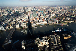 **PICTURES STRICTLY EMBARGOED INTIL 00:01 HOURS FRIDAY 11 JANUARY 2013** © London News Pictures. London, UK.  The shadow of The Shard Building in London cast over the London skyline during a media preview of the viewing level of The Shard building in London ahead of the public opening of 'A View From The Shard' on February 1, 2013. The public can view a 360 degree view of the capital from the 72nd floor of Western Europe's tallest building which stands at 800ft (244m).  Photo credit : Ben Cawthra/LNP