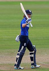 England's Natalie Sciver celebrates her half century. - Photo mandatory by-line: Harry Trump/JMP - Mobile: 07966 386802 - 21/07/15 - SPORT - CRICKET - Women's Ashes - Royal London ODI - England Women v Australia Women - The County Ground, Taunton, England.