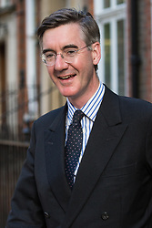 London, UK. 23 July, 2019. Jacob Rees-Mogg MP, Chairperson of the pro-Brexit European Research Group (ERG), leaves after attending a celebration in Westminster of Boris Johnson's election as Conservative Party leader and replacement of Theresa May as Prime Minister organised by the ERG.