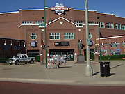 USA, Oklahoma, Oklahoma City, Johnny Bench Plaza and Bricktown Ballpark .