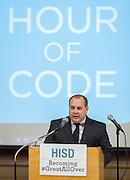 Steven Shetzer comments during a press conference for the Hour of Code at Kolter Elementary School, December 10, 2014.
