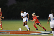 Ole Miss' Melissa Capocaccia (18) vs. Memphis' Nugene Nugent (11) in soccer action at the Ole Miss Soccer Stadium in Oxford, Miss. on Sunday, September 15, 2013. Ole Miss won 3-0.