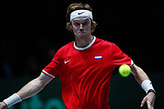 Andrey Rublev, player of Russia Team, in action during his match played against Roberto Bautista Agut, player of Spain Team, during the Davis Cup 2019, Tennis Madrid Finals 2019 on November 19, 2019 at Caja Magica in Madrid, Spain - Photo Oscar J Barroso / Spain ProSportsImages / DPPI / ProSportsImages / DPPI
