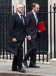 © London News Pictures. FILE PICTURE: 19/05/15. Works and Pensions Secretary, IAIN DUNCAN SMITH, and Paymaster General MATT HAYCOCK, arrive for cabinet meeting, Downing Street. Hancock has been widely tipped to take over as the Secretary for Work and Pensions following Iain Duncan Smith's resignation. Photo credit: Laura Lean/LNP