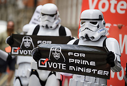 © Licensed to London News Pictures. 22/07/2019. London, UK. Protestors dressed at Storm Troopers, from the film Star Wars, stand outside the campaign headquarters of Boris Johnson in Westminster, London. This week the Conservative Party will select a new leader and Prime Minister, following Theresa May's announcement that she will step down. Photo credit: Ben Cawthra/LNP