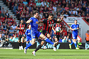 AFC Bournemouth Forward, Josh King (17) and Leicester City Defender, Ben Chilwell (3) challenge for the ball during the Premier League match between Bournemouth and Leicester City at the Vitality Stadium, Bournemouth, England on 15 September 2018.
