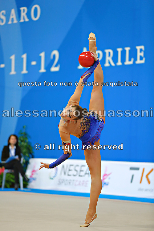 Mickova Monika during qualifying at ball in Pesaro World Cup at Adriatic Arena on 10 April 2015. Monika was born on July 29, 1991 in Brno. She is individual rhythmic gymnast of Czech Republic.