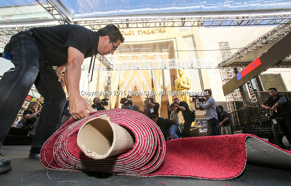 (Photo by Ringo Chiu/PHOTOFORMULA.com)<br /> <br /> Usage Notes: This content is intended for editorial use only. For other uses, additional clearances may be required.<br />  A worker lays carpet in front of Dolby Theatre in preparation for the 88th Academy Awards in Los Angeles, Wednesday, February 24, 2016. The Academy Awards will be held Sunday, February 28, 2016. (Photo by Ringo Chiu/PHOTOFORMULA.com)<br /> <br /> Usage Notes: This content is intended for editorial use only. For other uses, additional clearances may be required.<br />  (Photo by Ringo Chiu/PHOTOFORMULA.com)<br /> <br /> Usage Notes: This content is intended for editorial use only. For other uses, additional clearances may be required.