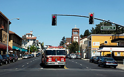 A Vallejo City Fire truck responds to a call in downtown Vallejo.  The city of Vallejo, California filed for bankruptcy protection in 2008 in attempt to deal with a ballooning budget deficit caused by soaring employee costs and declining tax revenue.