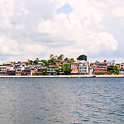 View of Flores, Guatemala, from a boat on Lake Peten Itza.