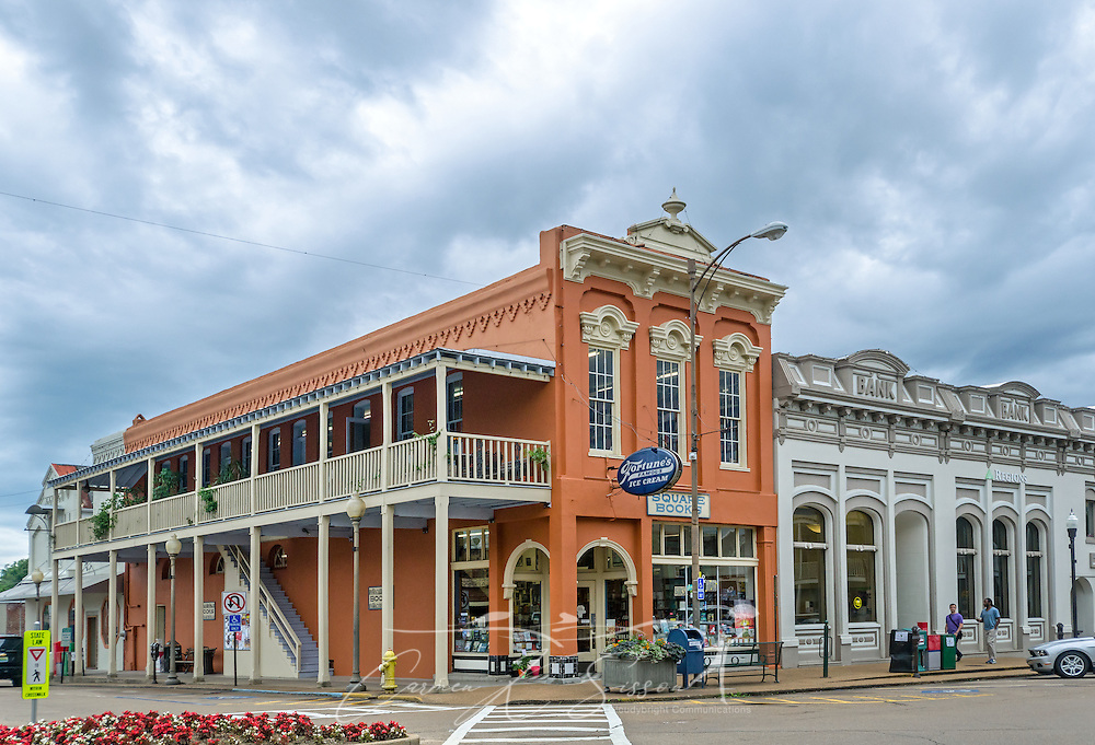 Cloudy skies gather above Square Books, May 31, 2015, in Oxford, Mississippi. The family-owned bookstore was founded in 1979 by Richard and Lisa Howorth and is considered to be one of the catalysts prompting downtown revitalization in Courthouse Square. (Photo by Carmen K. Sisson/Cloudybright)