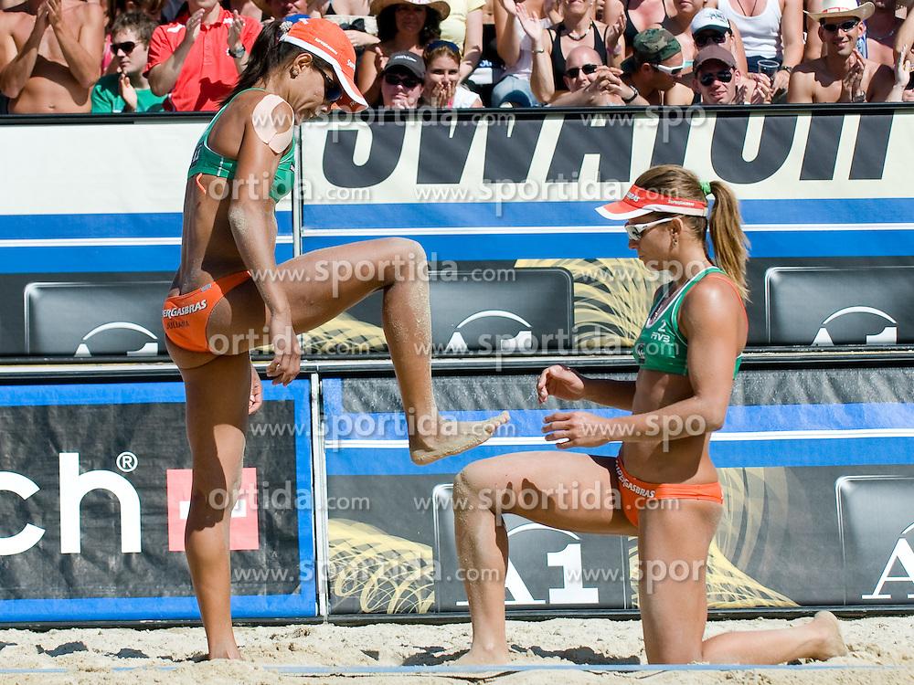 Larissa Franca and Juliana Felisberta Silva of Brazil at A1 Beach Volleyball Grand Slam tournament of Swatch FIVB World Tour 2010, final, on July 31, 2010 in Klagenfurt, Austria. (Photo by Matic Klansek Velej / Sportida)