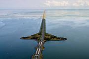 Nederland, Noord-Holland, Den Oever, 05-08-2014; Afsluitdijk met Stevinsluizen gezien vanuit Den Oever. Links Waddenzee, rechts IJsselmeer.<br /> Enclosure Dam with Stevin Locks seen from Den Oever. Port of Den Oever, left Waddenzee, IJsselmeer right.<br /> luchtfoto (toeslag op standaard tarieven);<br /> aerial photo (additional fee required);<br /> copyright foto/photo Siebe Swart.