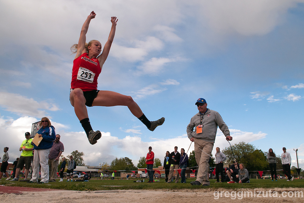 Southern Oregon freshman Lauren McGowne (Coos Bay, Ore./Marshfield) long jumps during the Cascade Conference Championships on May 9, 2014 at Northwest Nazarene University. McGowne had a big day scoring 19  points by winning the long jump (5.43m/17-9.75), placing fourth in the 100-meter hurdles (15.23) and fifth in the high jump (5-0.25).