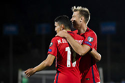 October 5, 2017 - San Marino, SAN MARINO - 171005 Mohamed Elyounoussi and Alexander Toft SÂ¿derlund of Norway celebrate 7-0 during the FIFA World Cup Qualifier match between San Marino and Norway on October 5, 2017 in San Marino. .Photo: Fredrik Varfjell / BILDBYRN / kod FV / 150027 (Credit Image: © Fredrik Varfjell/Bildbyran via ZUMA Wire)