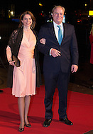 UTRECHT - Prince Carlos de Bourbon de Parme and Princess Annemarie de Bourbon de Parme-Gualtherie van Weezel arrive in Utrecht Dutch royal family attend the 75th birthday anniversary of Pieter van Vollenhoven and the 25th jubilee of the Fonds Slachtofferhulp (Victim Fund) in Utrecht. COPYRIGHT ROBIN UTRECHT