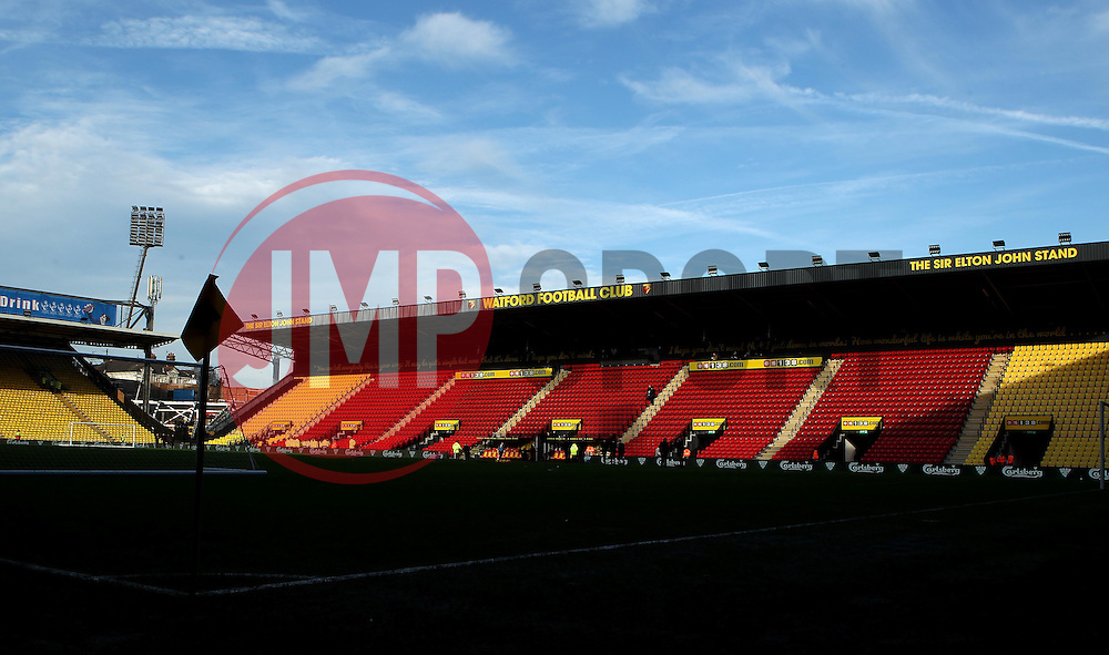 The sun shines on The Sir Elton John Stand at Vicarage Road, home of Watford FC - Mandatory byline: Robbie Stephenson/JMP - 07966 386802 - 28/12/2015 - FOOTBALL - Vicarage Road - Watford, England - Watford v Tottenham Hotspur - Barclays Premier League