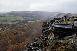 © Licensed to London News Pictures. 02/11/2019. Chesterfield, UK. Mist rises over Curbar Edge, Derbyshire, after heavy rain and strong winds have hit large areas of the UK this weekend. Photo credit : Tom Nicholson/LNP
