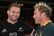 JOHANNESBURG, South Africa, 25 July 2015 : Two Legends, Kieran Read of the All Blacks and Schalk Burger (C) of the Springboks after the Castle Lager Rugby Championship test match between SOUTH AFRICA and NEW ZEALAND at Emirates Airline Park in Johannesburg, South Africa on 25 July 2015. Bokke 20 - 27 All Blacks<br /> <br /> © Anton de Villiers / SASPA