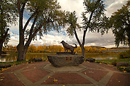 The Shep Memorial by Bob Scriver, on the leeve walk along Missouri River, Fort Benton, Montana