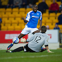 St Johnstone v Inverness Caley Thistle..29.12.12      SPL<br /> Gregory Tade through one on one with the Antonio Reguero hits the ball staright at him<br /> Picture by Graeme Hart.<br /> Copyright Perthshire Picture Agency<br /> Tel: 01738 623350  Mobile: 07990 594431