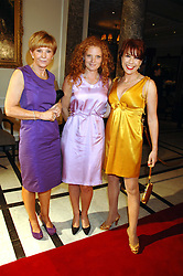 Left to right, ANNE ROBINSON, her daughter EMMA WILSON and KATHY LETTE at a party to celebrate the 180th Anniversary of The Spectator magazine, held at the Hyatt Regency London - The Churchill, 30 Portman Square, London on 7th May 2008.<br />