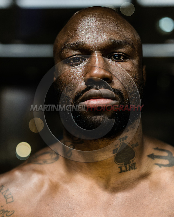 LONG BEACH, CALIFORNIA, OCTOBER 31, 2013: Muhammed Lawal poses for a portrait inside the Westin hotel in Long Beach, California ahead of their fight at Bellator CVI (© Martin McNeil)
