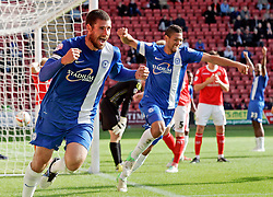 Peterborough United's Michael Bostwick celebrates scoring the equalising goal  - Photo mandatory by-line: Joe Dent/JMP - Tel: Mobile: 07966 386802 07/09/2013 - SPORT - FOOTBALL -  Alexandra Stadium - Crewe - Crewe Alexandra V Peterborough United - Sky Bet League One