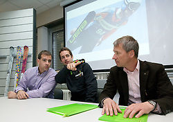 Leon Korosec of Elan, ski jumper Wolfgang Loitzl and General Manager of Elan dr. Robert Ferko at press conference when Loitzl signs a contract for new season 2010/2011 with Elan on October 26, 2010 in Elan factory, Begunje, Slovenia. (Photo by Vid Ponikvar / Sportida)