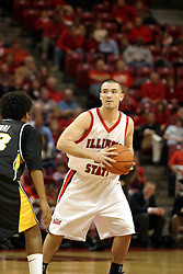 08 January 06  Brandon Holtz jousts with Sean Ogirri.....The Illinois State Redbirds come up short against the Witchita State Shockers.  The Shockers put on a 2nd half show that left the Redbirds trailing 56 - 47 at the bell.  Dana Ford of the Redbirds matched his career high with 16 points, adding 7 boards and 4 steals.....Redbird Arena, Illinois State University  campus, Normal, Illinois