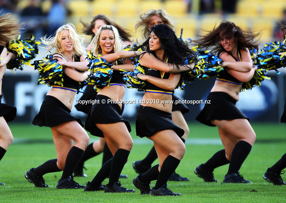 Hurricanes cheerleaders.<br /> Super 14 rugby match - Hurricanes v Western Force at Westpac Stadium, Wellington. Saturday, 20 February 2010. Photo: Dave Lintott/PHOTOSPORT