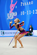Tikkanen Jouki during qualifying at ribbon in Pesaro World Cup 11 April 2015. Jouki was born July 05, 1995. She is a Finnish individual rhythmic gymnast.