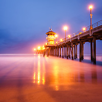 Huntington Beach Pier at sunrise in Orange County Southern California