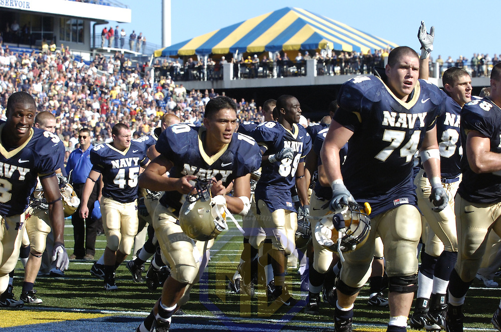 29 September 2007:  The Naval Academy team led by quarterback Kaipo-Noa Kaheaku-Enhada (10) celebrate their 31-20 victory over the Air Force Academy on September 29, 2007.  The Naval Academy Midshipmen defeated the Air Force Falcons 31-20 at Navy Marine Corps Memorial Stadium in Annapolis, MD.