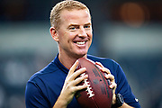 ARLINGTON, TX - OCTOBER 14:  Head Coach Jason Garrett of the Dallas Cowboys smiles for fans on the sidelines before a game against the Jacksonville Jaguars at AT&T Stadium on October 14, 2018 in Arlington, Texas.  The Cowboys defeated the Jaguars 40-7.  (Photo by Wesley Hitt/Getty Images) *** Local Caption *** Jason Garrett