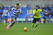 Reading's Nick Blackman charges forward with the ball during the Sky Bet Championship match between Reading and Brighton and Hove Albion at the Madejski Stadium, Reading, England on 31 October 2015. Photo by Mark Davies.