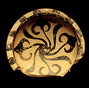 Shallow pottery cup decorated with Ivy leaves.Mycenaran 1500-2450 BC. Found in Tomb 40, Enkomi, Cyprus