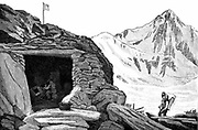 (Jean) Louis (Rodolphe) Agassiz (1807-1873) Swiss-born American naturalist and glaciologist. 'Hotel de Neuchatelois', shelter Agassiz built around huge boulder on the Aar glacier, Switzerland, during his 1840 expedition. From Elizabeth Cary Agassiz 'Louis
