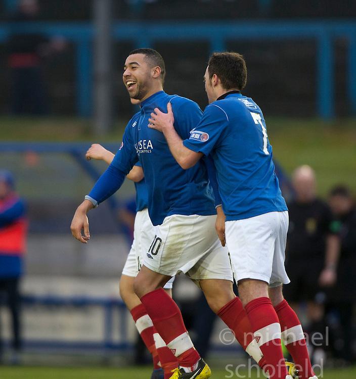Cowdenbeath's Kane Hemmings celebrates after scoring their second goal..half time : Falkirk v Cowdenbeath, 9/2/2013..©Michael Schofield.