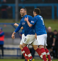 Cowdenbeath's Kane Hemmings celebrates after scoring their second goal..half time : Falkirk v Cowdenbeath, 9/2/2013..©Michael Schofield.