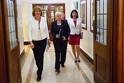 © Licensed to London News Pictures. 24/05/2016. London, UK. Labour Party's  prominent female figureheads former Labour leader HARRIET HARMAN, Shadow Business Secretary ANGELA EAGLE, Shadow Chief Secretary to the Treasury SEEMA MALHOTRA speak to set out why women are better off in European Union at Church House in London on Tuesday, 24 May 2016. Photo credit: Tolga Akmen/LNP