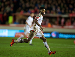 EXETER, ENGLAND - Friday, January 8, 2016: Liverpool's Jerome Sinclair in action against Exeter City during the FA Cup 3rd Round match at St. James Park. (Pic by David Rawcliffe/Propaganda)