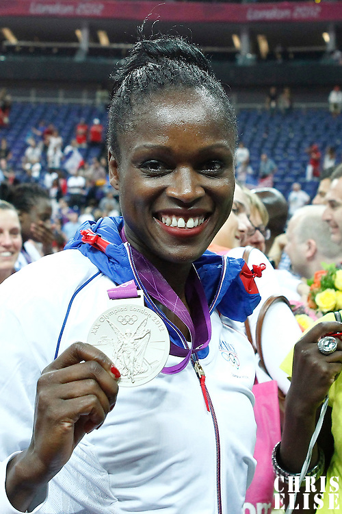 11 August 2012: France Emilie Gomis poses with her silver medal during 86-50 Team USA victory over Team France, during the Women's Gold Medal Game, at the North Greenwich Arena, in London, Great Britain.