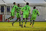 Players celebrate Forest Green Rovers Ethan Pinnock(16) goal, 1-4 during the Vanarama National League match between Bromley FC and Forest Green Rovers at Hayes Lane, Bromley, United Kingdom on 7 January 2017. Photo by Shane Healey.