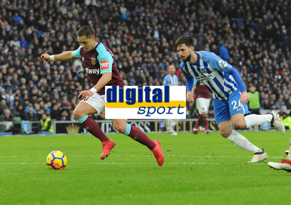 Football - 2017 / 2018 Premier League - Brighton & Hove Albion vs. West Ham United<br /> <br /> Javier Hernandez of West ham moves through to score his 1st half at The Amex.<br /> <br /> COLORSPORT/ANDREW COWIE