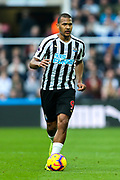 Jose Salomon Rondon (#9) of Newcastle United on the ball during the Premier League match between Newcastle United and Huddersfield Town at St. James's Park, Newcastle, England on 23 February 2019.