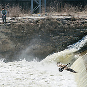 A fisherman tries his luck in the Grand River in Cambridge on Saturday. <br /> <br /> IAN STEWART / SPECIAL TO THE RECORD