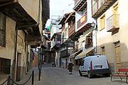 Traditional houses architecture narrow street, Garganta la Olla, La Vera, Extremadura, Spain